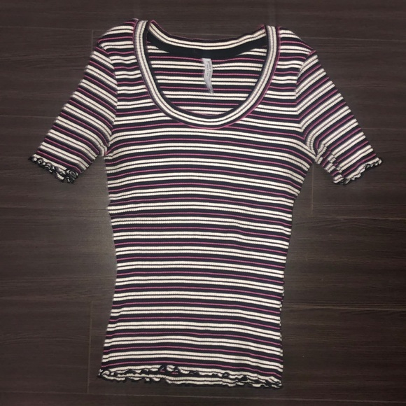 Ribbed Fitted Stripped Tee